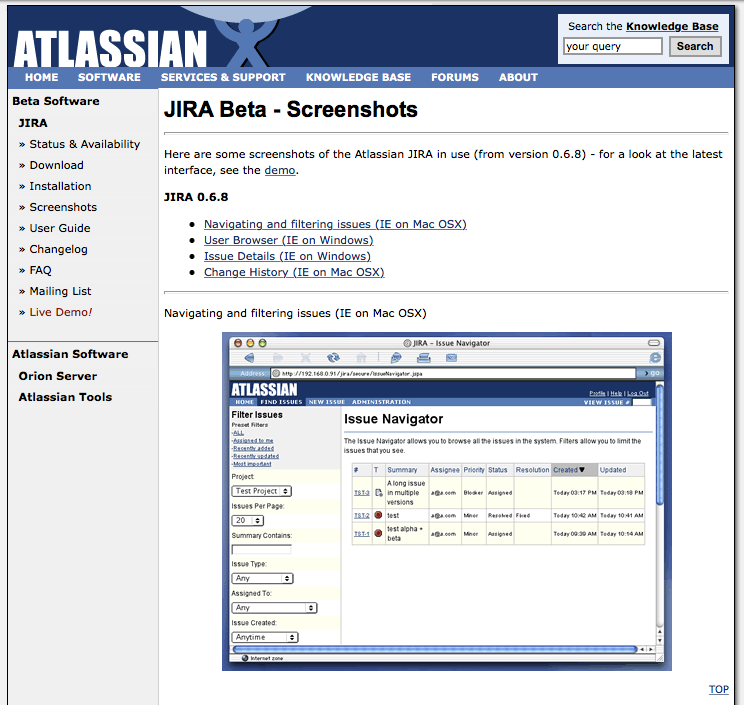 JIRA Website, 2002