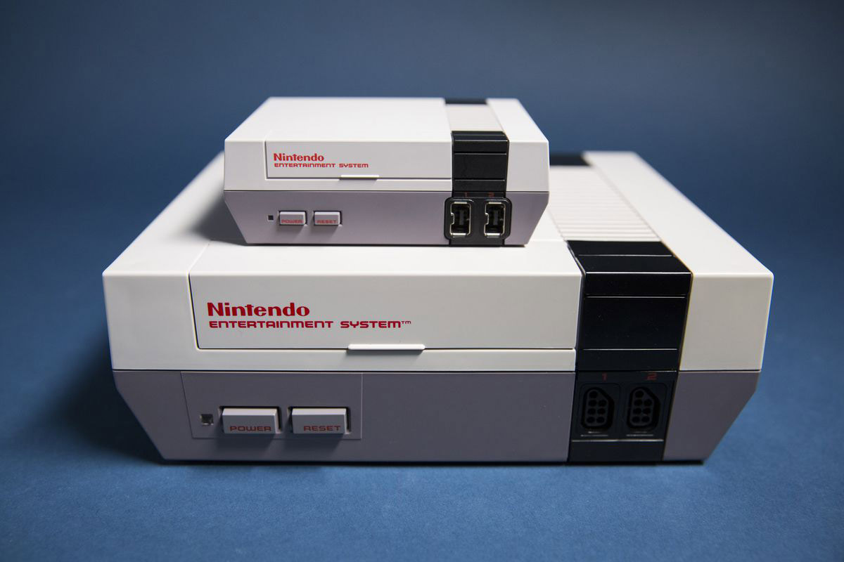 NES Classic Edition perched on top of the original NES.
