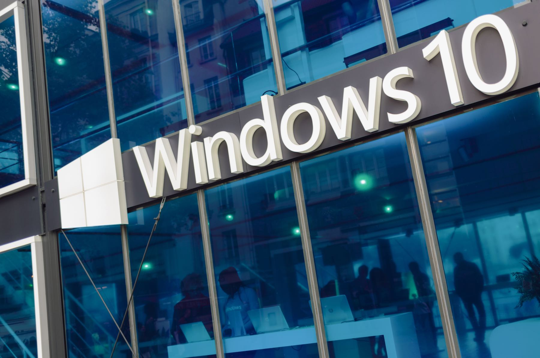 Facade of pavilion promoting Windows 10.