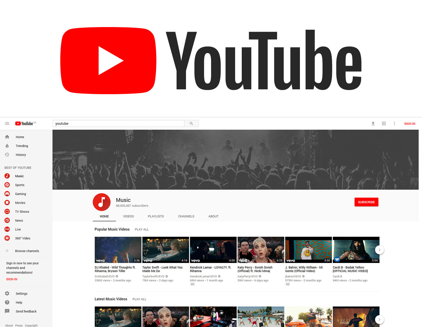 YouTube updates its logo and interface.