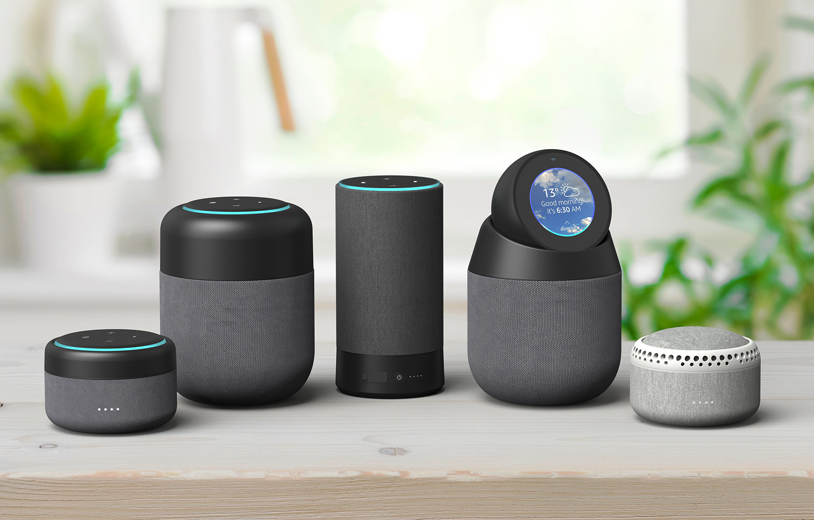 Line-up of Echo devices.
