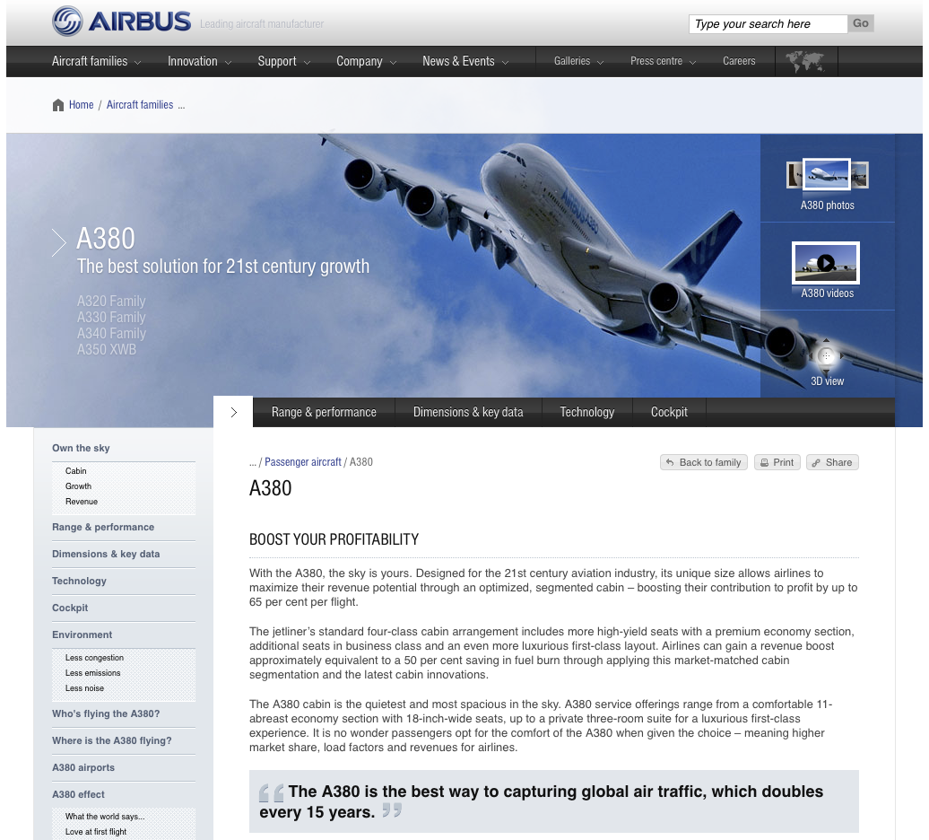 Airbus website, powered by Typo3